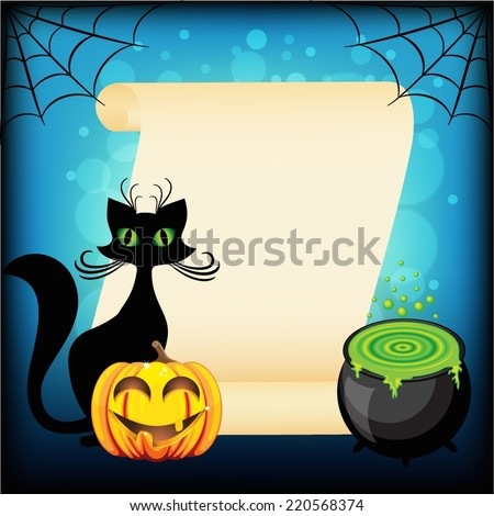 Black cat and Halloween pumpkin against empty wish scroll