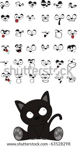 stock vector : black cat cartoon set in vector format