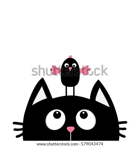black cat face head silhouette