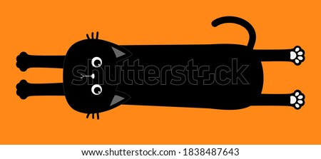 Black cat. Happy Halloween. Cute cartoon baby character. Long body with paw print, tail. Funny face head silhouette. Meow.Kawaii animal. Pet collection. Flat design style. Orange background. Vector