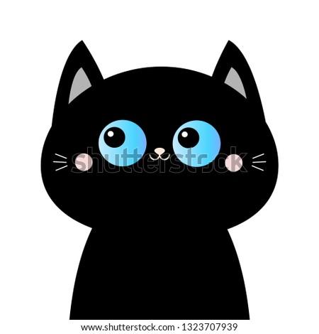 stock-vector-black-cat-head-face-silhouette-blue-eyes-pink-blush-cheeks-funny-kawaii-animal-baby-card-cute