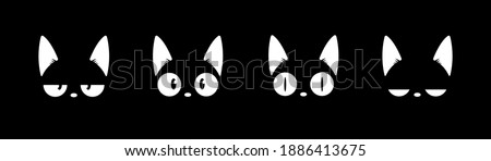 Black cat head face silhouette icon set. Vector logo cat for tattoo or T-shirt design or outwear. Cute print style cat background. Cat in shadow white line art. Pet collection cute cartoon character