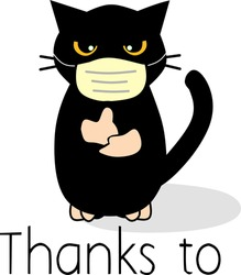 black cat icon wearing a mask in anticipation of the virus