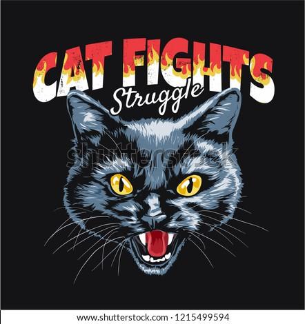 black cat illustration with