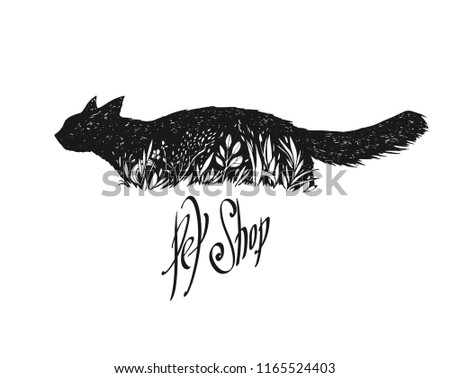 black cat in a grass graphic