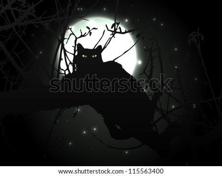 Black cat in night with moon - vector background