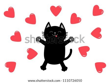 black cat jumping or making