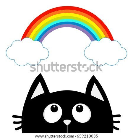 Black cat looking up to cloud and rainbow. Cute cartoon character. Valentines Day. Kawaii animal. Love Greeting card. Flat design. White background. Isolated. Vector illustration