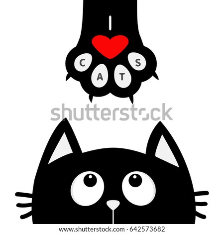 Black cat looking up to paw print with red heart. I love cats text. Cute cartoon funny character. Kawaii animal. Love Greeting card. Flat design style White background Isolated Vector illustration