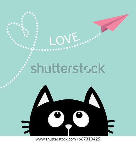 Black cat looking up to pink flying origami paper plane. Dashed line Heart loop Love text. Cute cartoon animal character. Valentines Day. Greeting card Flat design Blue background Vector