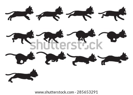 black cat running sprite
