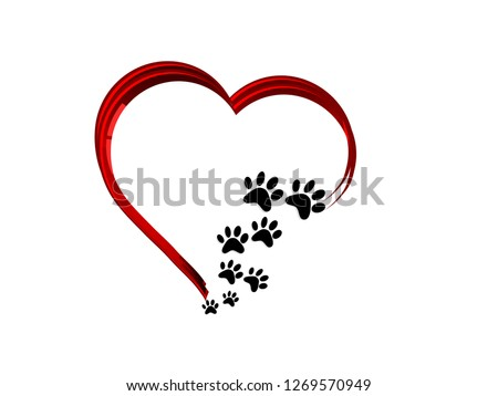 Black cat´s paws in abstract red heart