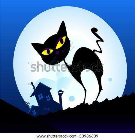 black cat silhouette in night