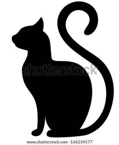 black cat silhouette on a white
