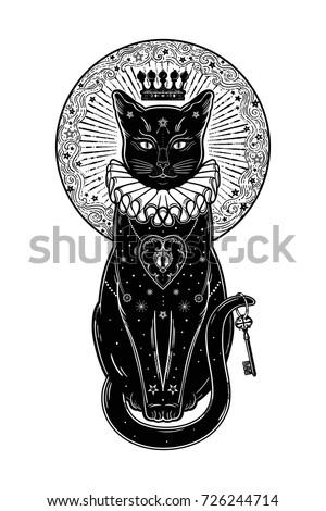 black cat silhouette portrait