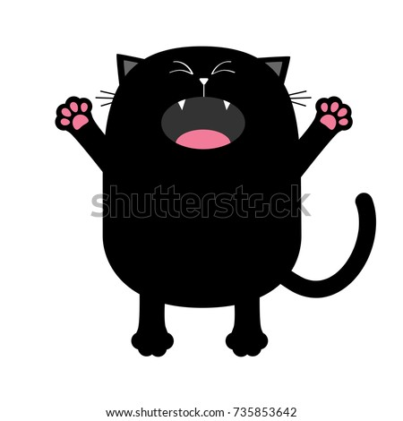 black cat silhouette screaming