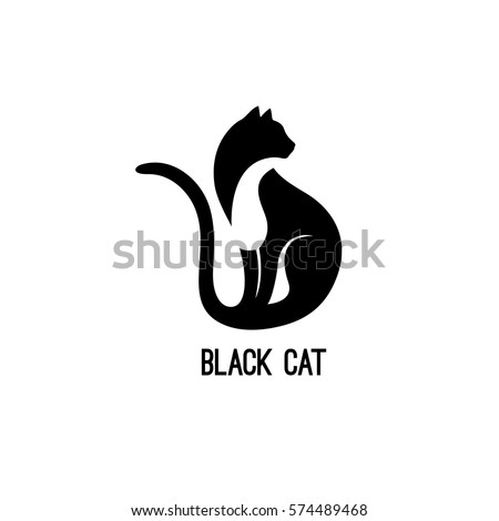 Stock Photo Black Cat Sitting and Looking Away. Vector Logo with Negative Space. Laconic Symbol for Icons, Logos, Badges and Emblems. Friday 13th Sign