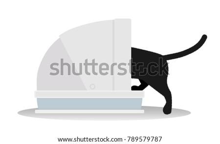 black cat using cat toilet