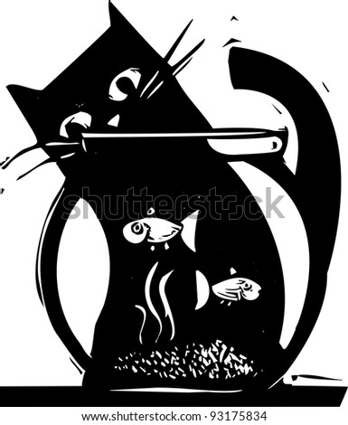Black cat watching fish in a fishbowl
