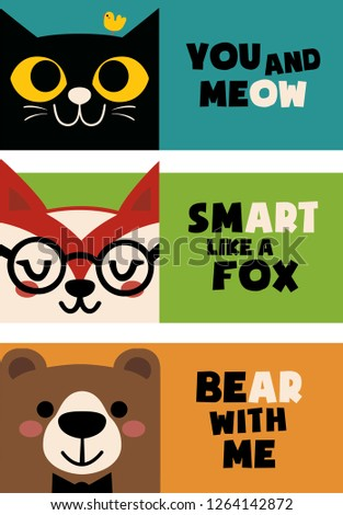 246020baea60 Black cat with a bird, Fox with glasses and bear with a bow tie.