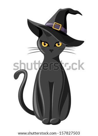 black cat with witches hat