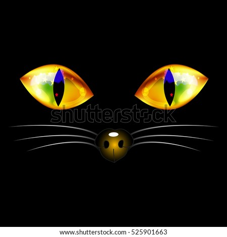 Stock Photo Black Cat with Yellow Golden Eyes, Nose and White Whisker. Halloween Day. Vector Illustration. isolated on white Background.