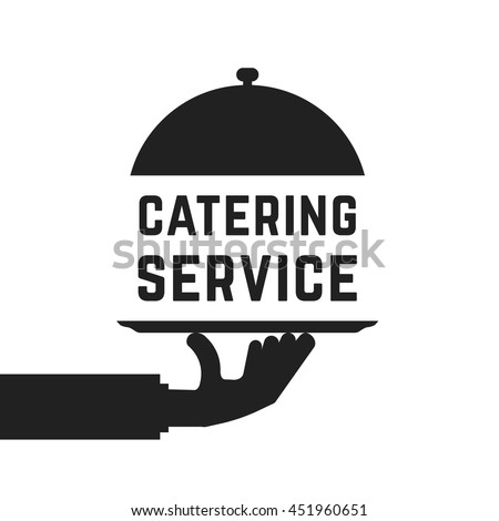 black catering service emblem. concept of outdoor event, luxury cookery, eat, cloche, waitress, fine dining. flat style trend modern logotype graphic design vector illustration on white background
