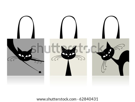 stock vector : Black cats graceful, design of shopping bags