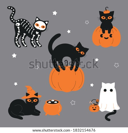 Black cats in spooky outfits. Witch cat, ghost cat, skeleton cat, cat in pumpkin. Design for Halloween and Mexican holiday Day of the Dead.