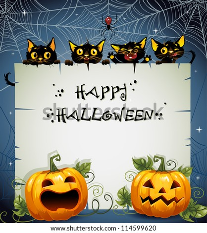 Black Cats night Halloween background. Halloween background. The text is on a separate layer.