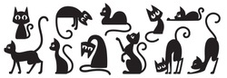 Black cats silhouettes set for halloween and other. Cat shapes isolated on white background. Stock vector