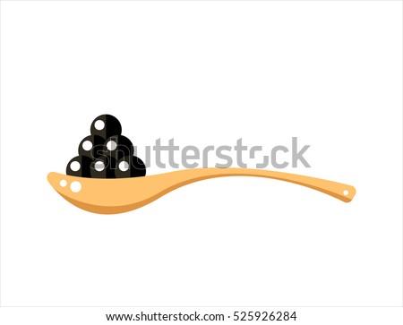 black caviar in wooden spoon
