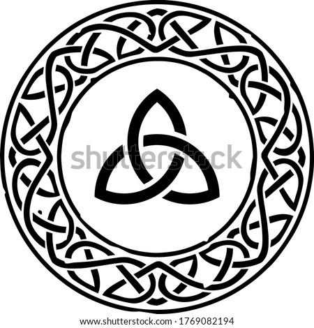 Black Celtic ring with a repeating pattern and a Celtic Knot in the middle. Can represent the Irish or Scottish culture, druids, Medieval times, a coat of arms, mythology, fantasy and more.  Stock photo ©