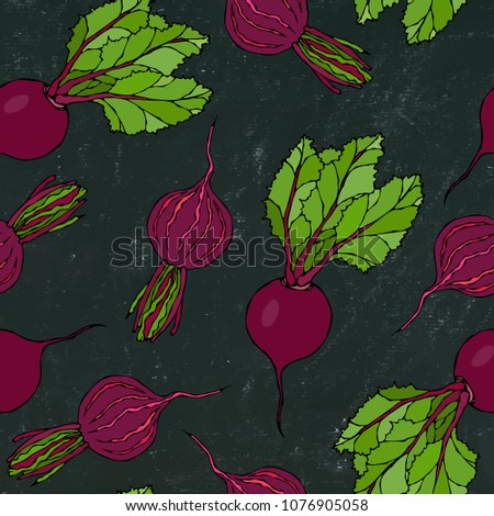 Black Chalk Board. Seamless Background of Ripe Beets. Endless Pattern of Beetroot with Top Leaves and Beet Halves. Fresh Vegetable Salad. Hand Drawn Vector Illustration. Savoyar Doodle Style.