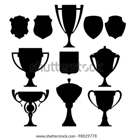 black champion cup and coat of arms vector set  icon