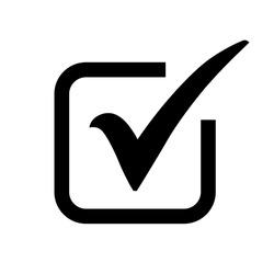 Black check mark icon in a box. Tick symbol in black color, vector illustration.
