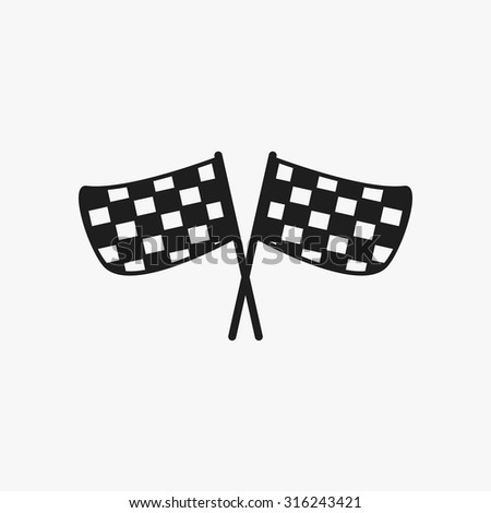 Black checkered flags icons set. Vector Illustration eps10.