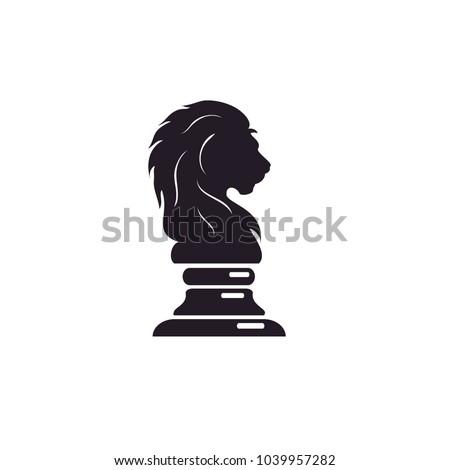 black chess knight lion horse