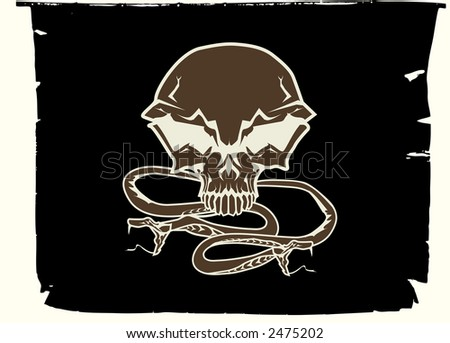 Black chevron with stylized human skull and snakes. Vector illustration. - stock vector