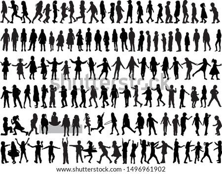 Black Children silhouettes. Vector work.