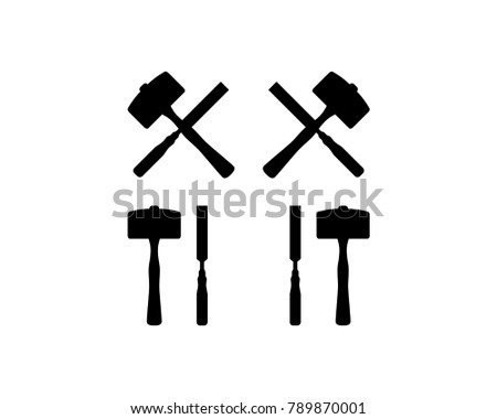 Black Chisel and Hammer Cross for Woodworker Hand Crafted Illustration Symbol Icon Vector