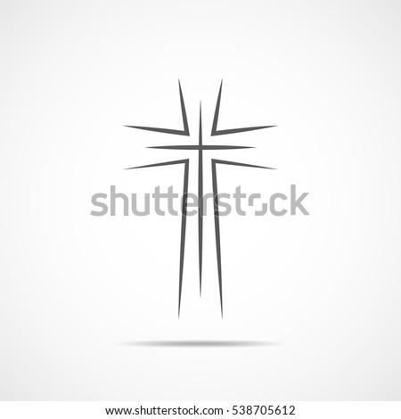 Black christian cross icon. Abstract line christian cross. Vector illustration