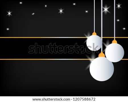 5ed343b4cfbfe Black Christmas background. White shiny ball decoration with stars and  blank space for your text