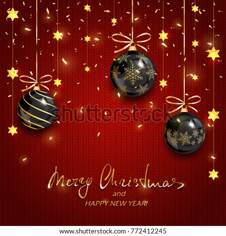 Black Christmas balls with gold stars and confetti on red knitted background. Holiday lettering Merry Christmas and Happy New Year, illustration.