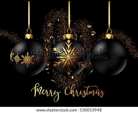 black christmas decoration balls collection on black background confetti backdrop design vector illustration - Black Christmas Ornaments