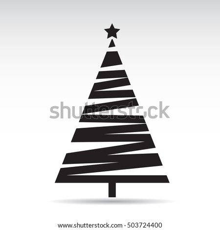 Black Christmas Tree. Vector Illustration. #503724400