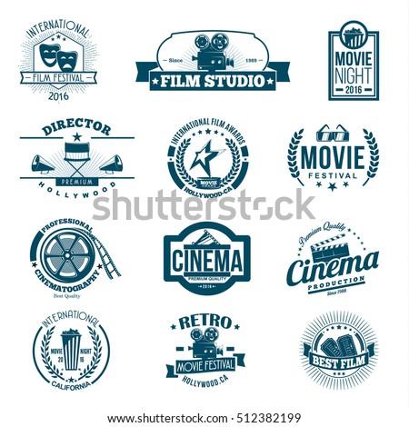 Black cinema retro signs, emblems and logo set, vector illustration