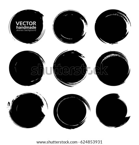 Black circle textured ink strokes set isolated on a white background