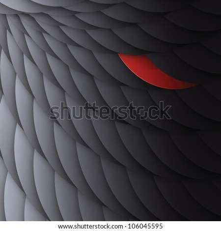 Black circles with one bright red. Abstract background, vector, EPS10