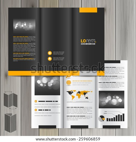 Black classic brochure template design with yellow shapes. Cover layout